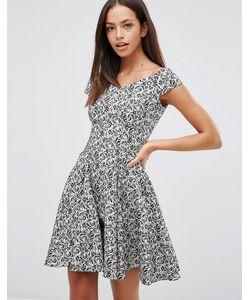 Closet London | Жаккардовое Короткое Приталенное Платье С Цветочным Принтом Closet