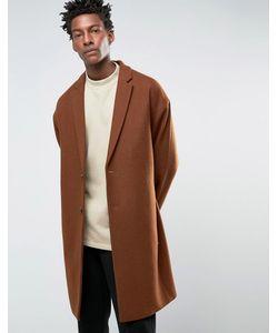 Asos | Темно-Рыжее Полушерстяное Пальто