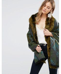 Jayley | Зеленое Свободное Пальто В Клетку С Отделкой Искусственным Мехом
