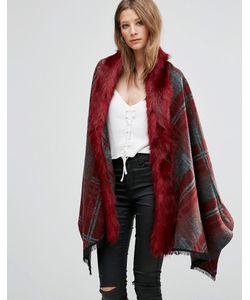 Jayley | Свободное Пальто В Клетку С Отделкой Искусственным Мехом