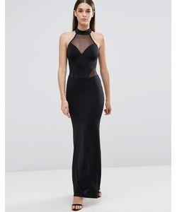 Sistaglam | Платье Макси С Халтером И Сетчатыми Вставками