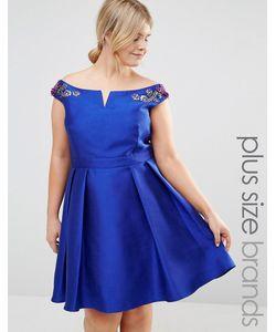 Little Mistress Plus | Платье Мини Для Выпускного С Открытыми Плечами И Цветочной Вышивкой Little