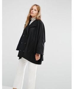 Cooper & Stollbrand | Черное Короткое Двубортное Пальто В Стиле Oversize