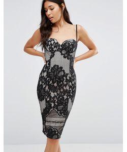 boohoo | Платье На Бретельках С Кружевной Отделкой