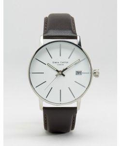 Simon Carter | Часы С Черным Кожаным Ремешком И Белым Циферблатом