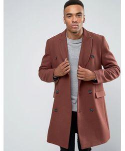 Asos | Двубортное Пальто Из Смешанной Шерсти Рыжего Цвета
