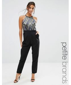 Paper Dolls Petite | Sleeveless High Neck Sequin Bodice Jumpsuit