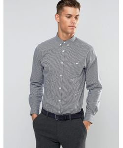 Silver Eight | Navy And White Mini Check Formal Shirt In Slim