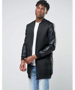 BL7CK | Удлиненная Сетчатая Куртка-Пилот С Рукавами В Кожаном Стиле