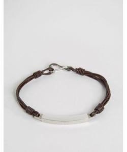 Seven London | Cross Cord Bracelet In Brown