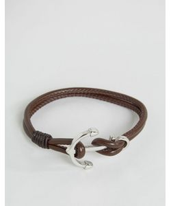Seven London | Anchor Leather Bracelet In Brown