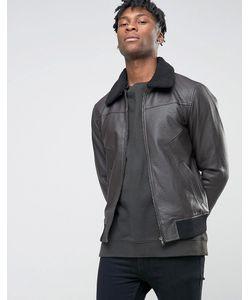 BL7CK | Куртка В Кожаном Стиле С Искусственным Воротником