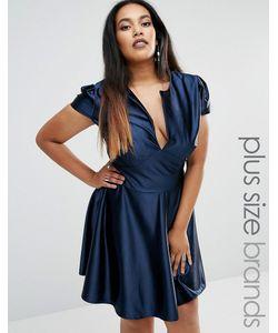 Club L | Атласное Короткое Приталенное Платье Plus Pam