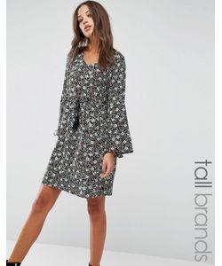 Brave Soul Tall   Платье С Присборенной Юбкой И Оборкой На Рукавах
