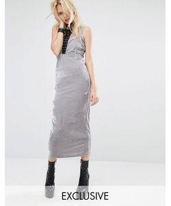Story of Lola | Велюровое Облегающее Платье Макси С Вырезами И Кружевной Отделкой Story Of