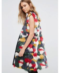 Jayley | Luxurious Faux Fur Multicolour Longline Gilet