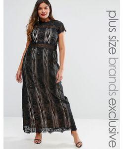 Truly You   Платье Макси С Кружевными Вставками И Короткими Рукавами