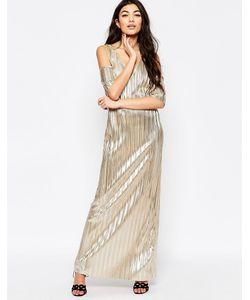 Liquorish | Плиссированное Платье Макси Металлик С Открытыми Плечами