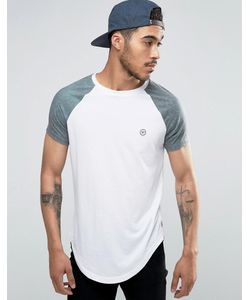 Le Breve | Longline T-Shirt Curved Hem With Contrast Sleeve