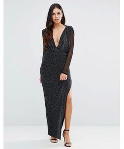 Hedonia | Платье Макси С V-Образным Вырезом И Прозрачными Рукавами