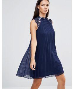 Lipsy | Свободное Платье С Плиссировкой И Цветочной Отделкой 3d