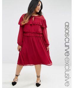 ASOS CURVE | Приталенное Платье С Оборкой