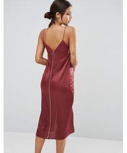 Asos | Платье Миди На Бретельках С Драпировкой И Молнией На Спинке