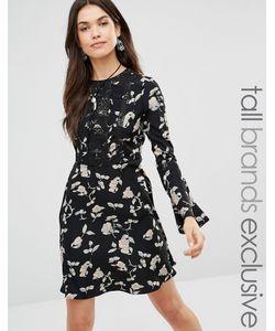 Glamorous Tall | Короткое Приталенное Платье С Расклешенными Рукавами И Цветочным Принтом