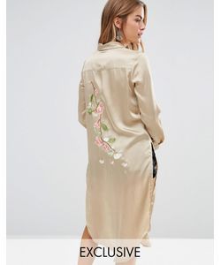 Young Bohemians | Silky Shirt Dress With Delicate Embroidered Back Panel