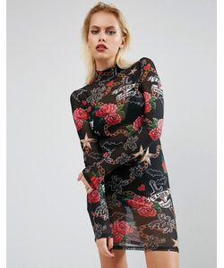 Jaded London | Halloween Mesh Dress In Tattoo Print