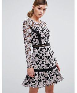 True Decadence | Кружевное Платье С Контрастной Вставкой Лесенкой И Юбкой-Колокол