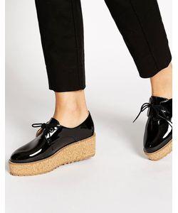 Shellys London | Черные Лакированные Туфли На Пробковой Платформе Shellys