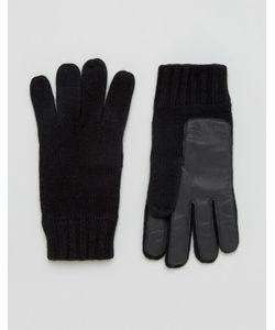 DENTS | Черные Перчатки Из Овечьей Шерсти С Кожаной Нашивкой На Ладонях