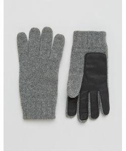 DENTS   Перчатки Из Овечьей Шерсти С Кожаной Нашивкой На Ладонях