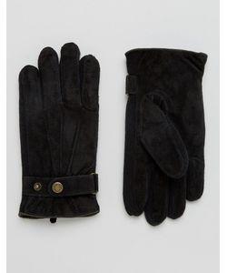 DENTS   Черные Замшевые Перчатки Chester