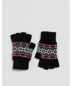Glen Lossie | Черные Перчатки Без Пальцев С Узором Фэйрайл Из Овечьей Шерсти Glen