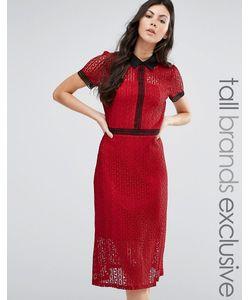 Fashion Union Tall | Кружевное Платье Миди С Контрастной Отделкой