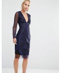 Lavish Alice   Сетчатое Платье Миди С Глубоким Декольте И Вышивкой