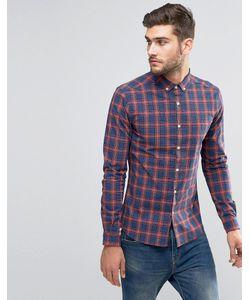 Asos | Бордовая Рубашка Суперузкого Кроя В Клетку