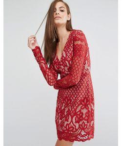 Style Stalker | Кружевное Платье Миди С V-Образным Вырезом И Длинными Рукавами Stylestalker