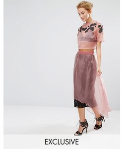 Hope and Ivy | Hope Ivy Midi Skirt In Lace With Organza Overlay Co-Ord