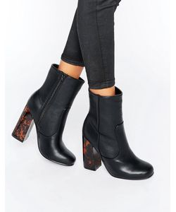MISSGUIDED | Contrast Block Heel Ankle Boots