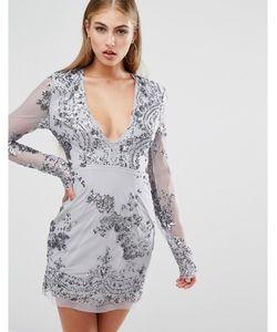 MISSGUIDED   Облегающее Платье С Длинными Рукавами И Отделкой Пайетками