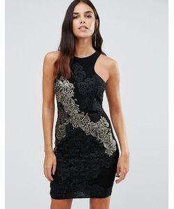 FOREVER UNIQUE | Облегающее Платье С Отделкой Из Золотистого Кружева Daria