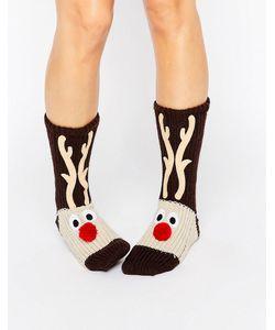 Loungeable | Chunky Knit Reindeer Christmas Sock