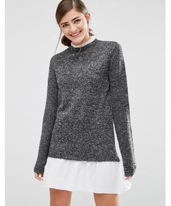 Willow and Paige | 2 In 1 Jumper Dress With Pleated Collar