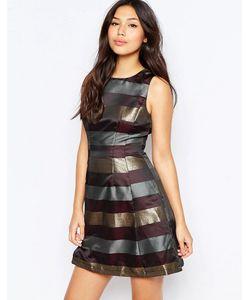 AX Paris | Короткое Приталенное Платье С Полосками Цвета Металлик