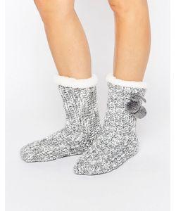 Loungeable | Marl Knit Pom Trim Sock