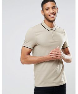 Asos | Muscle Pique Polo Shirt With Contrast Collar And Sleeve Tipping