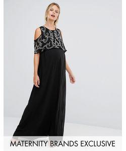 Maya Maternity | Платье Макси Для Беременных С Оборкой На Рукавах И Отделкой Maya